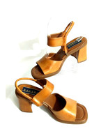 """Bakers Womens 6.5M """"COUNT"""" Brown Leather Open Toe Chunky Heel Ankle Stra... - $23.33"""