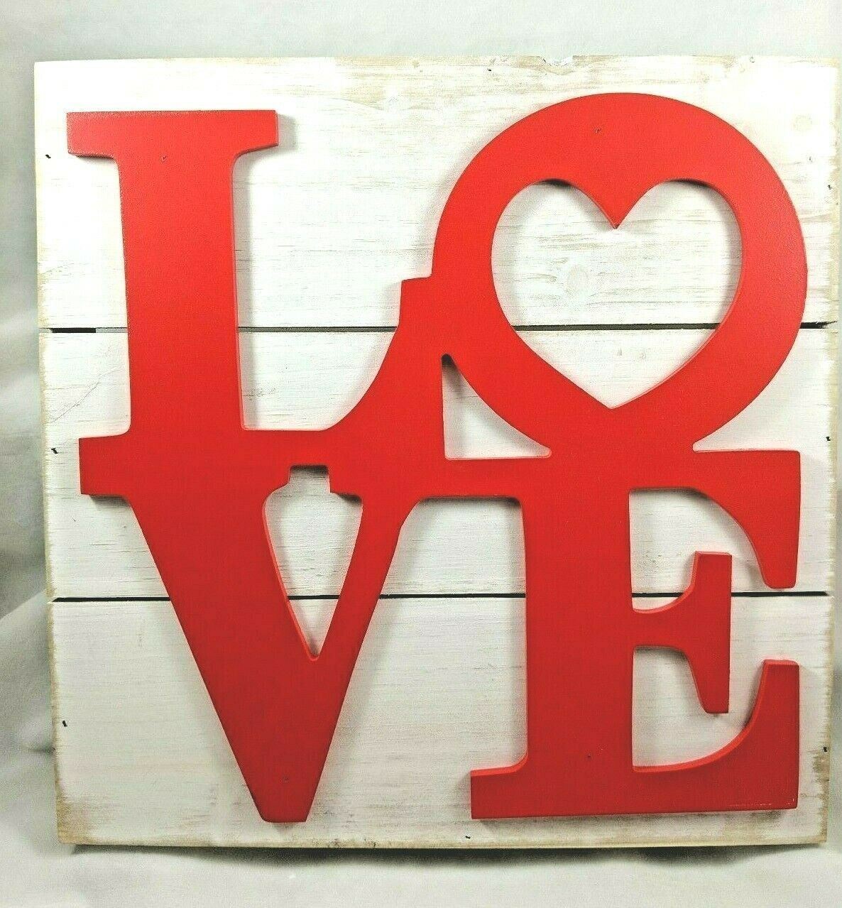 Primary image for Love Word Script Heart Hanging Wood Plaque Wall Sign Rustic Room Decor 12x12x1.5