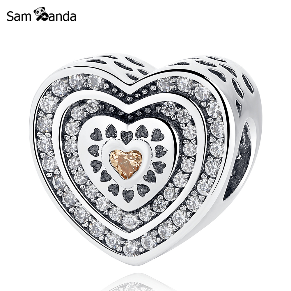 Primary image for Buy Authentic 925 Sterling Silver Bead Charm Pave Lavish Heart With Crystal