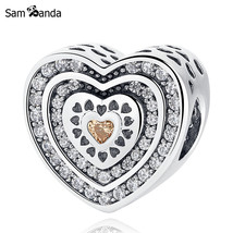 Buy Authentic 925 Sterling Silver Bead Charm Pave Lavish Heart With Crystal - $20.99