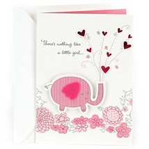Hallmark Congratulations Greeting Card for New Baby Girl Pink Elephant - $6.75