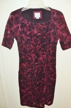 Maeve Anthropologie Plum & Black Ruched Side Short Sleeve Stretch Dress 6P - $15.58