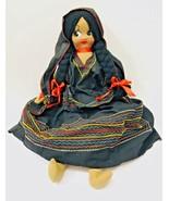Handmade Mexican Handpainted Face Black Braided Yarn Hair Cloth Body Doll - $24.63