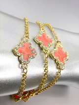NEW 18kt Gold Plated Chains Orange Enamel Clover Clovers CZ Crystals Bra... - $382,27 MXN