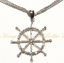 Captain's Ship Wheel Pendant Necklace Clear Crystal Silver Tone Metal Nautical - $36.99