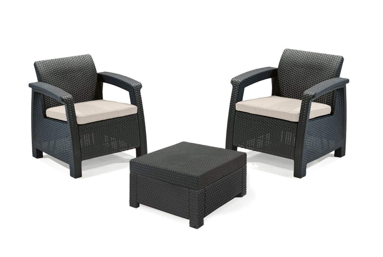 3pcs Rattan Garden Balcony Set Armchairs Coffee Table Patio Furniture Brown