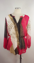 Calvin Klein Sz L Sheer Lined Red White Animal Print Blouse - $23.55