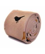 Frederick Thomas pink tie with bird design 100% cotton linen FT2179 - $18.25