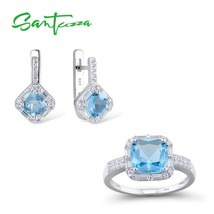SANTUZZA Jewelry Set for Women Chic Bridal Shiny Cushion Blue Crystal Ea... - $31.94