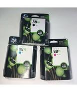 HP 88XL Ink Cartridges Set Of 3  Black Cyan Magenta Genuine OEM Exp 2014 - $12.86