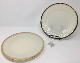"""Set of 2 Fire King Plates - 9 1/8"""" Diameter - Swirl Pattern with Gold Trim - $9.99"""