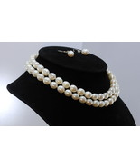 29 Inch White Pearl Endless Necklace 9x10mm Knotted Real Silk Matching E... - $135.85