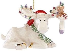 Lenox 2018 Moose Figurine Ornament Annual Marcel's Christmas Stocking Te... - $74.25