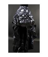 Skull Print Black Ruffle Trim Long Adjustable Bustle 3Layer Victorian Go... - $67.02