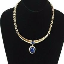 Vintage Monet Faux Blue Gem Rhinestone Gold Tone Cleopatra Signed Charm Necklace - $24.15