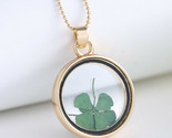 Four Leaf Clover, St Patricks Day, Green Necklace Pendant Resin - Good Luck