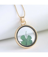 Four Leaf Clover, St Patricks Day, Green Necklace Pendant Resin - Good Luck - £9.51 GBP