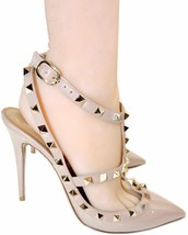 Valentino Rockstud T-Strap Patent Leather Cage Pumps Slingback Heels Sho... - £406.46 GBP