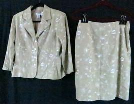 Dress Barn 8  Beige Floral Skirt Suit Wear to Work - $15.99