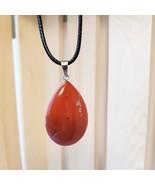 Polished Stone Necklace, Red Jasper pendant, natural gemstone jewelry, c... - $12.99