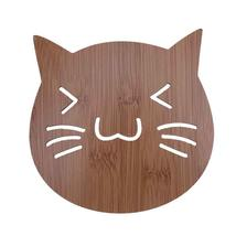 (3)Creative Cat Shape Mat Wood Hollow Heat Insulation Non-slip Dinner Bowl Cup M - $14.00