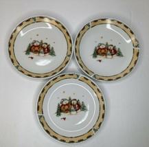 "3 Gibson Dinnerware 2003 Snowmen Dessert Plates 7"" 1 Has Chip *See Photos*  - $9.89"
