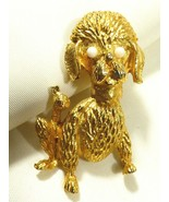 Vintage Gold tone metal white beads eyes cute Poodle Dog Puppy pin brooch  - $17.82