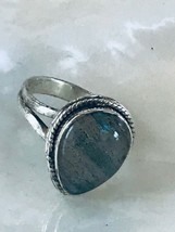 Estate Teardrop Laboradorite Stone in 925 Marked Silver Split Band Ring ... - $21.36