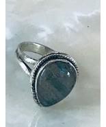 Estate Teardrop Laboradorite Stone in 925 Marked Silver Split Band Ring ... - $21.36