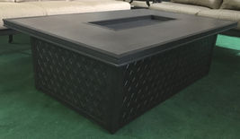 Fire pit propane coffee table height rectangular outdoor cast aluminum patio image 10
