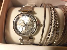 Neu Ovp Vivani Silber Kristall Quarz Uhr & 8 Armreif Armbänder Set + - $52.48