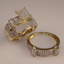2Ct Diamond Trio Set 14K Yellow Gold Fn Ladies Engagement Ring Men's Wed... - $135.00