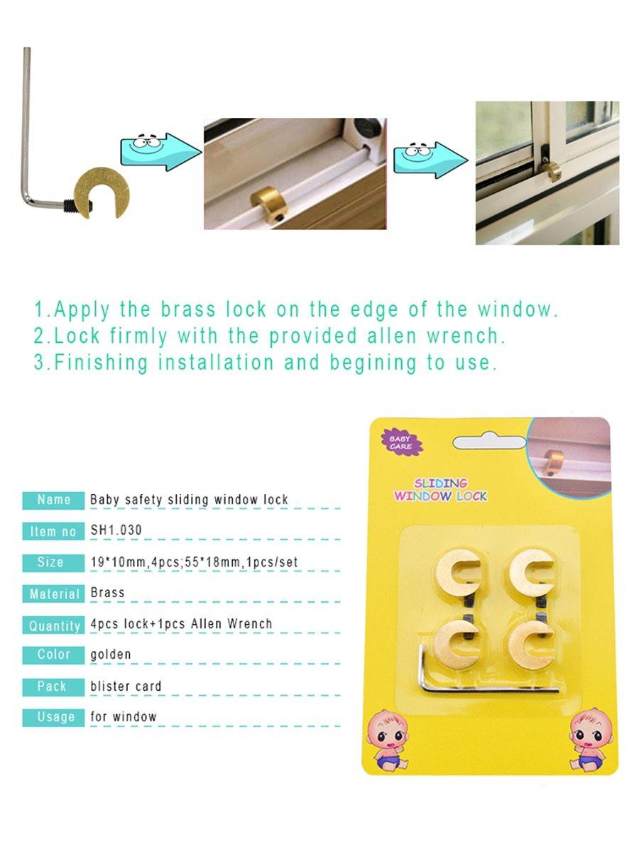 4 Pcs Safety Sliding Window Lock Baby Safety Brass Window Lock