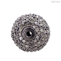12x7 MM Sterling Silver Natural 0.96 Ct Diamond Pave Spacer Bead Finding... - $228.76
