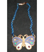 """Vintage Hand Painted 2 1/2"""" Brass Butterfly Small 12"""" Necklace Made In I... - $13.78"""