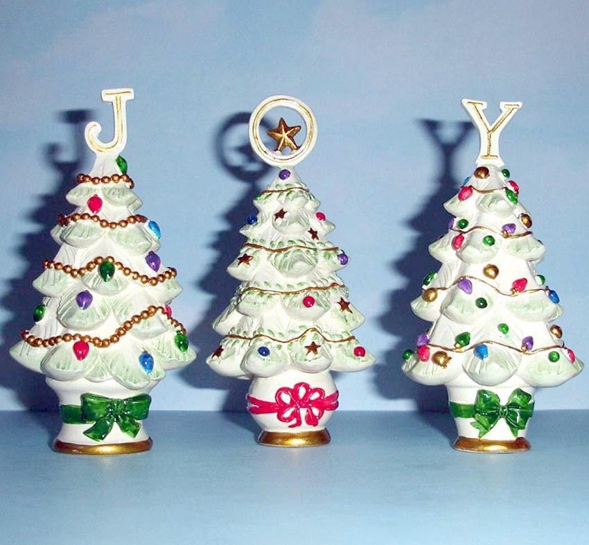 """Lenox Christmas Joy Set of 3 Tree Sculptures Together They Spell Out """"JOY"""" New"""