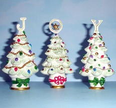 """Lenox Christmas Joy Set of 3 Tree Sculptures Together They Spell Out """"JOY"""" New - $35.90"""