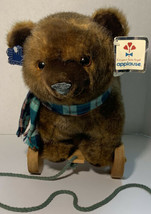 """Vintage 1986 Applause Nostalgic Bear on Wheels #21007 Pull toy 14""""x14"""" W/Tags! - $35.00"""