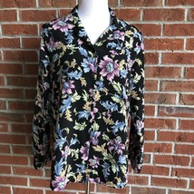 BonWorth Floral Button-Down Side-Split Blouse w/Shoulder Pads - see meas... - $10.77
