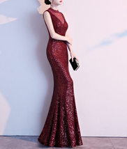 Burgundy Sequin Maxi Formal Dress High Waist V Neck Sequin Dress Wedding Gowns image 2