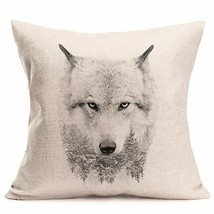 Fukeen Watercolor Ink Painting Animal Wolf Throw Pillow Cases Cotton Lin... - $10.27
