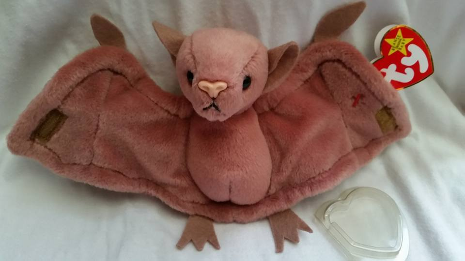 TY Beanie Babies Batty PVC PELLETS , With Errors Retired 1996 No Pink Stamp