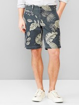 "Men's GAP Lived-in Palm Print Soft Twill Shorts Inseam: 10"" 100% Cotton ... - $38.21"