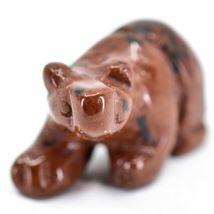 Red Black Obsidian Gemstone Tiny Miniature Bear Figurine Hand Carved China image 5