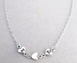 Perssonalized Heart Necklace 2 initial Necklace - Silver Chain Valentine... - $18.50