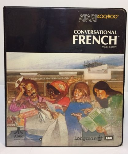 Vtg 1981 ATARI 400/800 Conversational French CX4119 Software with Coursebook New