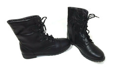 American Eagle Womens Teen Girls Black Ankle Boots Shoes Size 6 Plaid Lining - $18.53