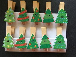 30pcs Christmas Tree Photo Clips,Paper Pegs,wood clothespin,Party Gifts ... - $7.20