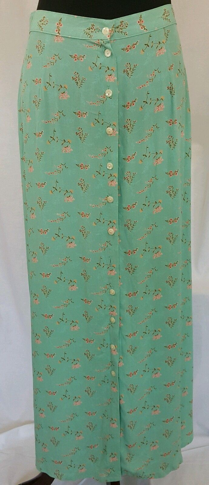 GAP Skirt Long Green Floral Buttons Down Front Silk Size 8