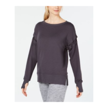 Ideology Women Crisscross Long Sleeve Sweatshirt Top Crew Black Pullover XS - $14.99